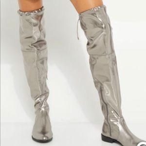 Shoes - New Womens Mettalic Over The Knee Boots